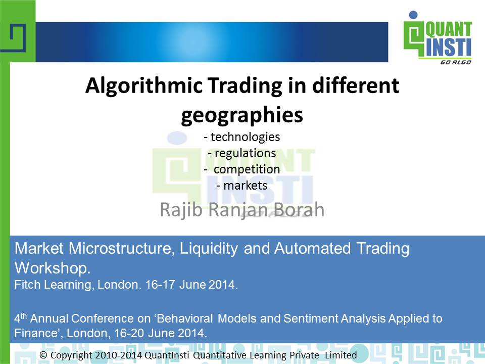 Algorithmic Trading in different landscapes - PPT