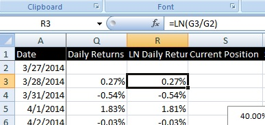 Add two new columns for the Daily returns and the natural log daily returns of the share