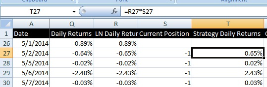 Calculate Strategy ln Daily Returns