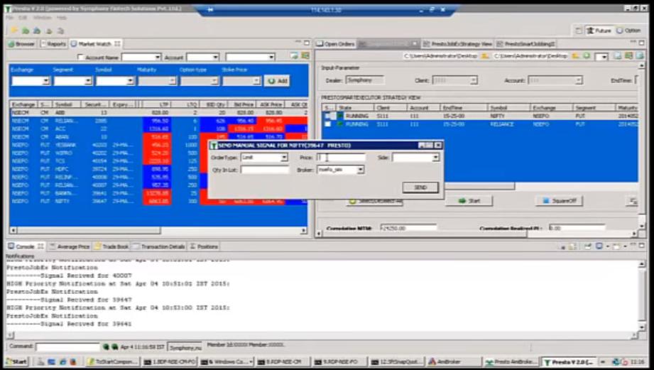 Screenshot of Presto ATS, developed by Symphony Fintech