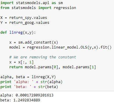 code to calculate Google's beta against S&P 500