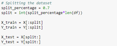 Split the dataset