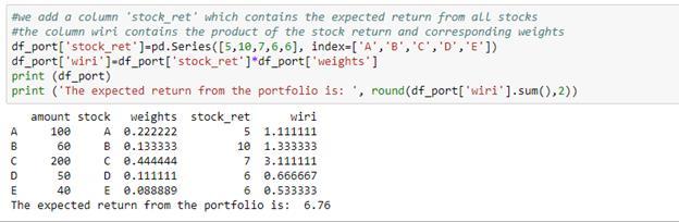 calculating expected return of the portfolio