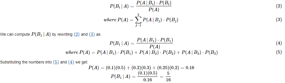 Equations for Bayesian Theorem