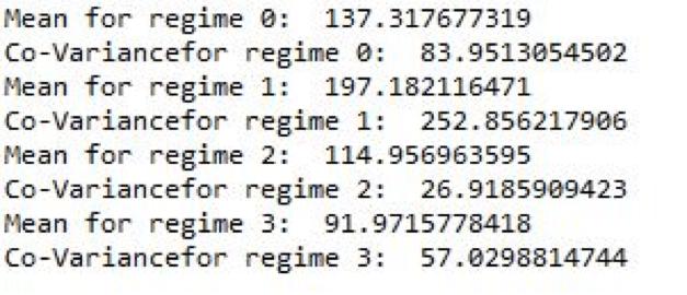 print the relevant data for each regime