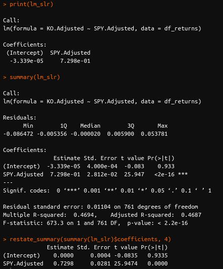 R simple linear regression slr