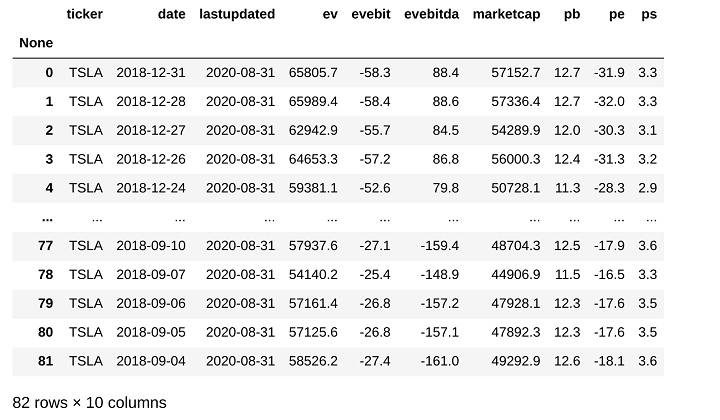 fundamental data for Tesla stock