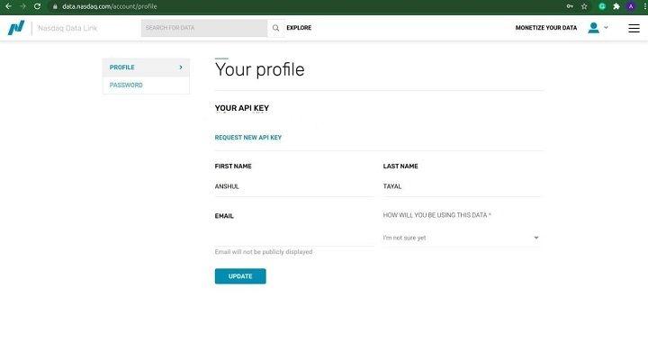 generating a free API key by creating an account on Nasdaq Data Link